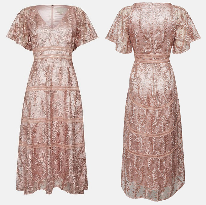 Coast Rose Gold dress 2021. Coast Rose Gold Mother of the Bride Dress 2021. Autumn Wedding Guest Outfits 2021. Autumn Mother of the Bride Outfits 2020, Dresses for Mother of the Bride 2021. Mother of the Groom Dresses 2021. Rose Gold Lace Dress 2021.