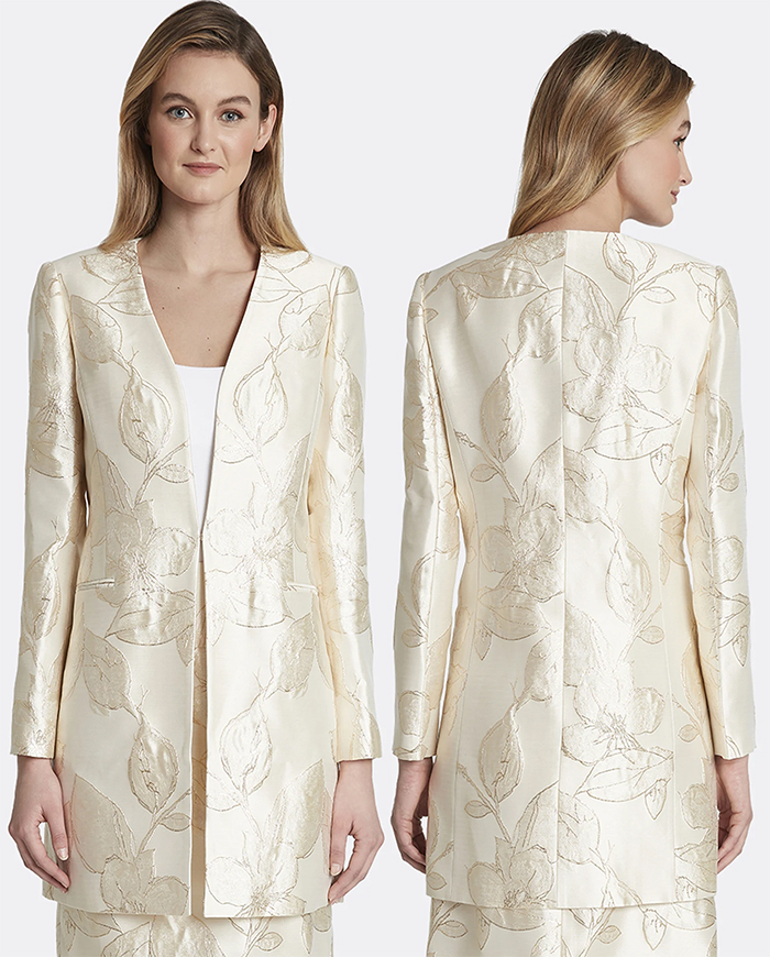Floral Mother of the Bride Jacket for Spring 2021. Autumn Mother of the Bride outfits 2021. Long Mother of the Bride Jacket 2021. Jacket to wear with Champagne Gold Mother of the Bride outfit 2021. Cream Mother of the Bride Jacket 2021. Cream Floral Jacquard Mother of the Bride outfit 202. Floral Mother of the bride coat. Mother of the bride long jacket 2021. Autumn Wedding Ideas 2021.