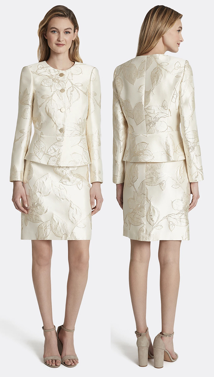 Fall Wedding Guest Outfits 2021. Spring Wedding Mother of the Bride outfits 2021. Gold Jacquard Mother of the Bride Outfits 2021. Mother of the Groom Outfits 2021. Matching Mother of the Bride Jacket and Skirt set 2021. Cream Floral Mother of the Bride outfit 2021. Spring Wedding Mother of the Bride outfit ideas 2021.