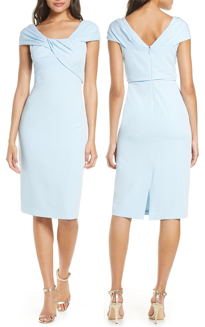 Pale Blue Mother of the Bride Dress 2021. Low Budget Mother of the Bride dresses 2021. Mother of the Bride Outfits 2021, Summer Mother of the Groom Outfits 2021. Pastel Blue Body Con Dress. Pastel Blue Sheath Dress 2021. Best Mother of the Bride Dresses 2021.