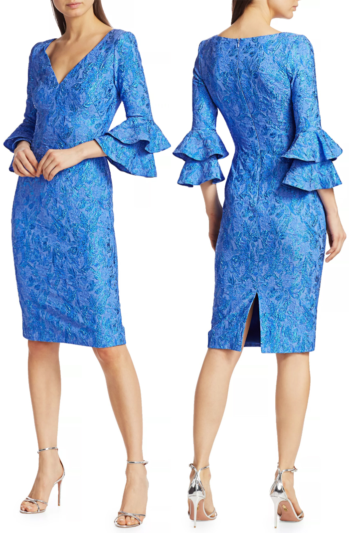 Cornflower Blue Mother of the Bride Dress 2020. Blue Jacquard Floral Mother of the Bride Dress 2021. Autumn Wedding Mother of the Bride Dresses. Spring Wedding Mother of the Bride Outfits 2021. Designer Mother of the Bride outfits 2021.