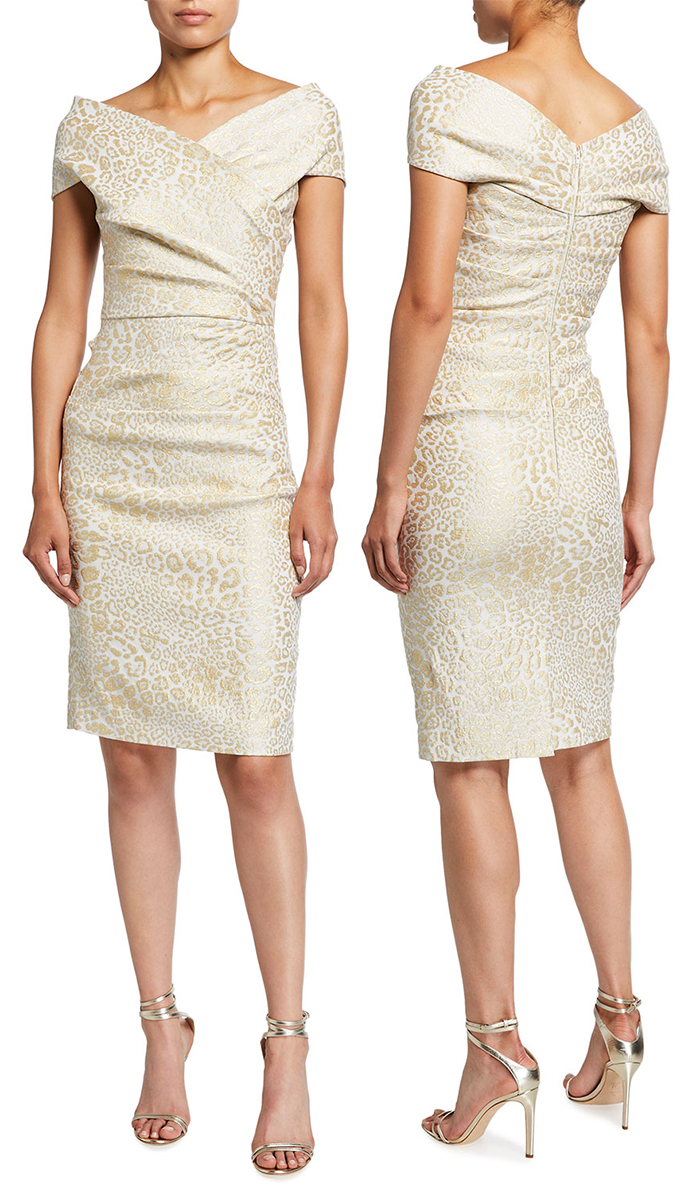 Rickie Freeman for Teri Jon Animal Print Jacquard Dress. Champagne Gold Mother of the Bride Dress. Champagne Gold Fitted Dress. Champagne Mother of the Bride Outfits 2021. Spring wedding Mother of the Bride Outfits 2021. Spring Mother of the Bride Dresses 2021. Luxury Mother of the Bride Dresses 2021. Mother of the Groom Outfits 2021.