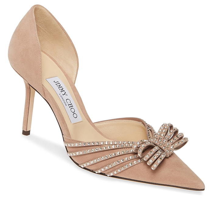 Jimmy Choo Nude Shoes 2021. Luxury Mother of the Bride Shoes 2021. Blush Pink Mother of the Bride Outfits 2021, Mother of the Groom outfits. Jimmy Choo Designer shoes. Nude Crystal Shoes. Crystal Bridal Shoes
