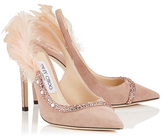 Jimmy Choo Nude Shoes with Feather. Medium Heel Nude Shoes. Suede Pink Mother of the Bride Shoes. Shoes for Mother of the Bride. Spring Wedding Mother of the Bride Outfits. Designer Shoes for Weddings. Jimmy Choo Designer Shoes. Best shoes for Mother of the Bride. Pretty Mother of the Bride Shoes