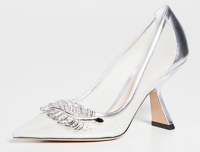 Nicholas Kirkwood Monstera Silver Shoes. Medium Heel Silver Shoes 2020. Silver Mother of the Bride Shoes 2020. Shoes for Spring Mother of the Bride 2021. Spring Wedding Mother of the Bride Outfits 2021. Designer Shoes for Weddings 2020. Nicholas Kirkwood Designer Shoes 2020. Best shoes for Mother of the Bride 2020. Pretty Mother of the Bride Shoes 2020.
