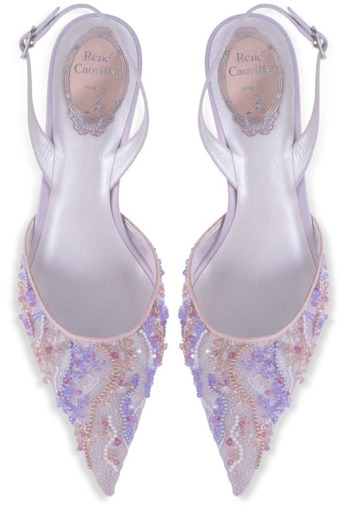 Rene Caovilla Lilac Shoes 2020. Rene Caovilla Jewelled Shoes 2020. Lace Mother of the Bride Shoes 2020. Luxury Shoes for Mother of the Bride 2020. Summer Wedding Mother of the Bride Outfits. Designer Shoes for Mother of the Bride 2020. Best shoes for Mother of the Bride 2020. Pretty Mother of the Bride Shoes 2020.
