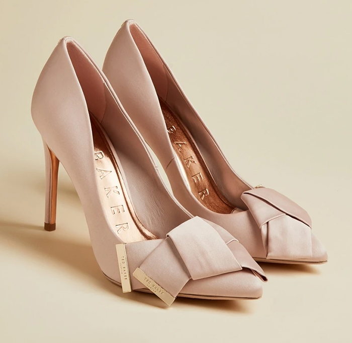Ted Baker Blush Pink Shoes 2021. Blush Pink Shoes with Bows. Blush Pink Mother of the Bride Shoes 2020. What to wear to a Spring Wedding 2021. Summer Wedding Mother of the Bride outfit ideas 2021. Mother of the Groom Outfits. Mother of the Bride fashion 2021.