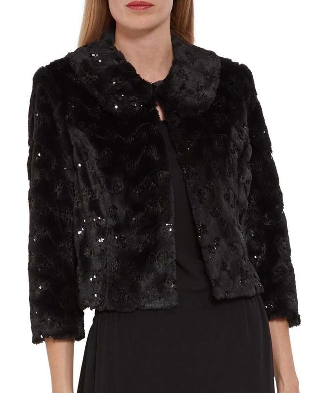 Faux Fur and Sequins Jacket. Winter Wedding Mother of the Bride Ideas. Winter Wedding Bolero 2019. What to wear for a Winter Wedding. Sequin Jacket for Christmas Party. Sequin Jacket for New years Eve 2020. Gift ideas for Mother of the Bride 2020. Ideas to Keep Warm at Winter Wedding.