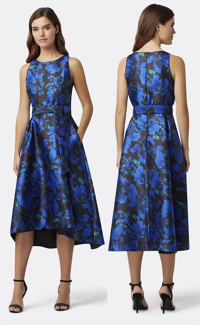 Blue Jacquard Floral Dress. Winter Wedding Mother of the Bride Dresses 2020. Winter Mother of the Bride Dresses on High Street Budget 2020. What to wear for a winter wedding 2020. Autumn Winter Fashion. Winter Mother of the Bride outfits. Winter Wedding Guest Outfit ideas