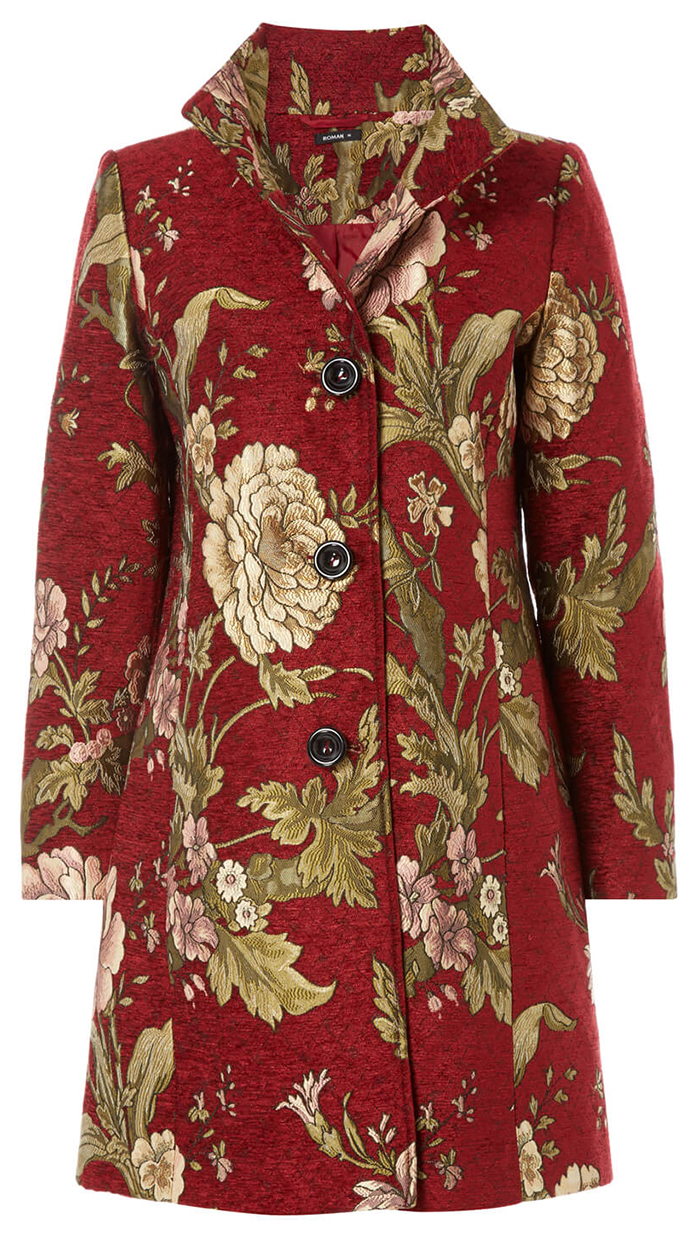 Floral Jacquard Jacket for a Spring Wedding 2021. Spring Wedding Guest Outfits 2021. Wedding Guest Outfits for Mothers. Spring Mother of the Bride outfits 2021. Spring Wedding Coats. Gold and Red Jacquard Jacket. Mother of the Bride outfit Ideas 2021. Mother of the Groom Outfits 2021. Winter Mother of the Groom Dresses