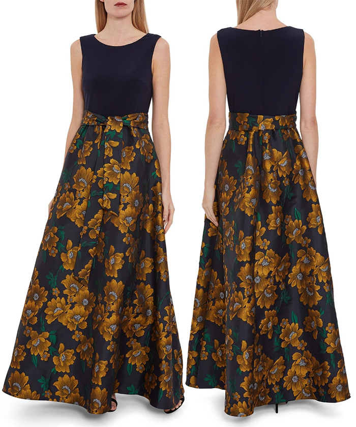 Long Mother of the Bride dress for Winter Wedding 2020. A Line Mother of the Bride Floral Dress. Mother of the Bride dress for Pear Shaped Figures 2020. What to wear for a winter wedding 2020. Autumn Winter Fashion. Winter Mother of the Bride outfits. Mother of the Groom Dresses. Winter Wedding Guest Outfit ideas