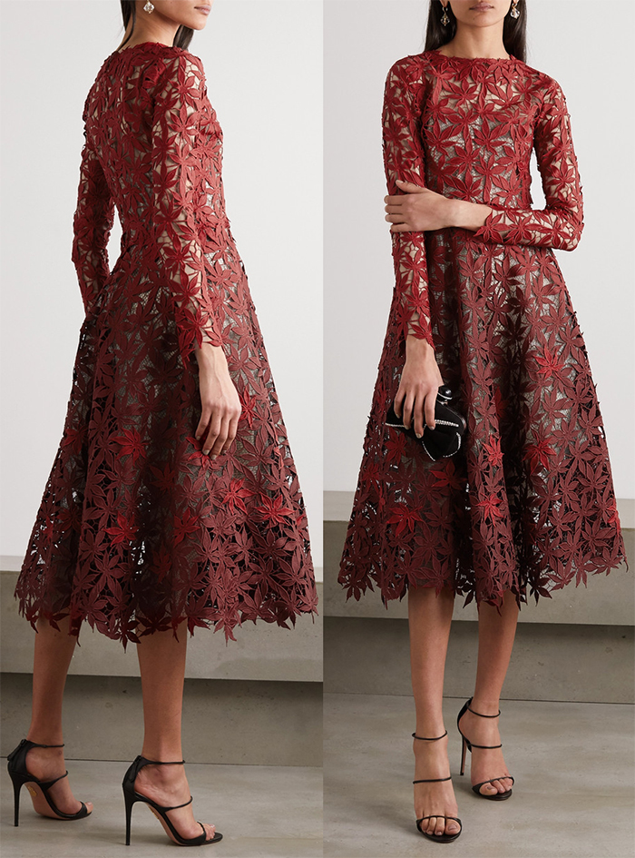 Oscar de la Renta Lace Guipure Dress. Guipure Lace Mother of the Bride Dress. Burgundy Mother of the Bride Dress 2020, Winter Wedding Mother of the Bride Dresses 2020, Best Mother of the Bride Dresses for Winter 2020. What to wear to a February wedding 2020.