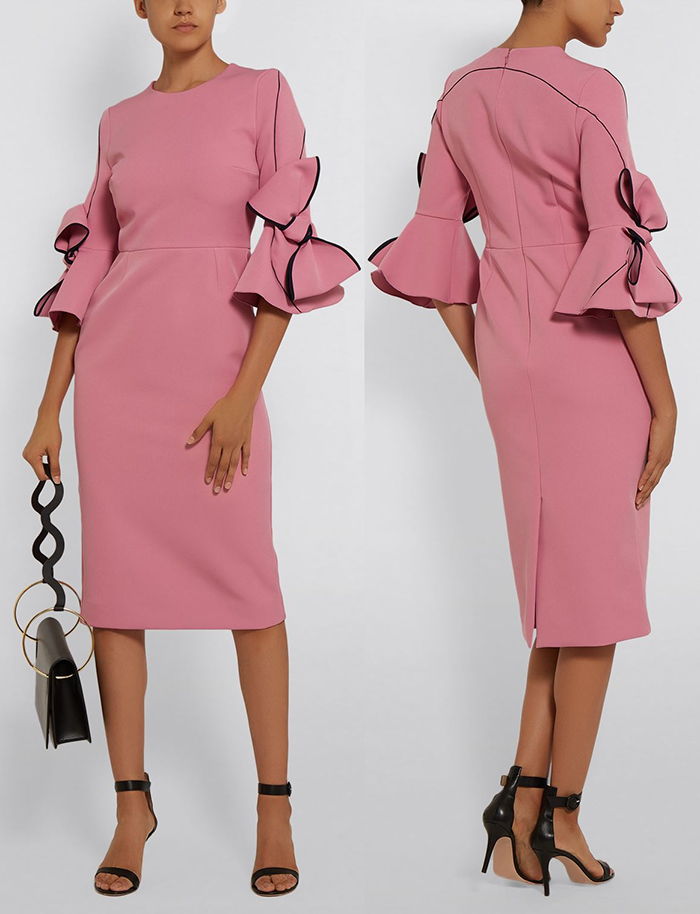 Roksanda Dresses 2019. Roksanda Autumn Winter Dress. Pink Mother of the Bride dress. Winter Mother of the Bride Dresses 2020. Dusky Pink Mother of the Bride Dress. Luxury Dresses for Mother of the Bride. What to wear for a Winter Wedding 2019. Mother of the Groom outfits 2019.