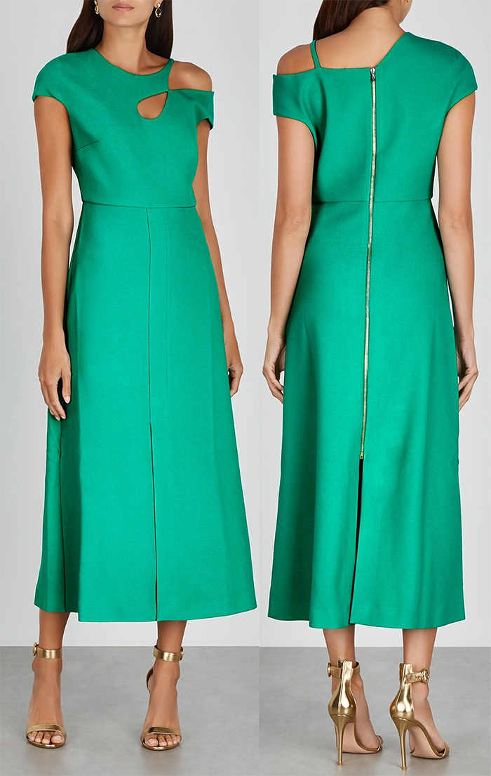 Roland Mouret Dress 2020. Roland Mouret Thean Dress 2020. Green Mother of the Bride dress 2020. Green Mother of the Bride Dresses 2020. Midi Dresses for Winter Wedding Guest 2020. Spring Wedding Mother of the Bride Outfits 2021. Designer Dresses for Mother of the Bride 2020. Best Dresses for Mother of the Bride 2020. Green Midi Dress 2020.