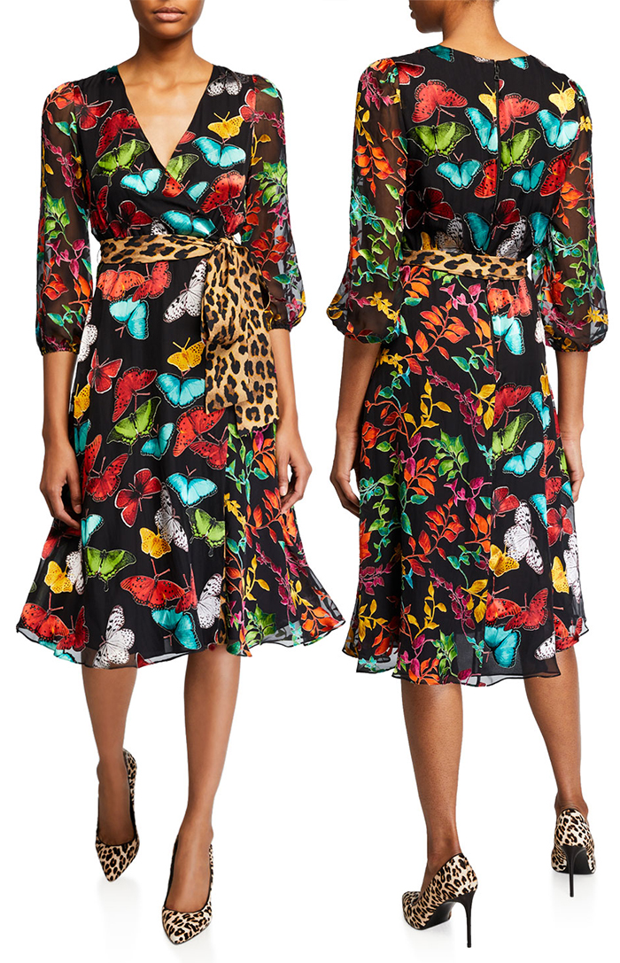 Alice + Olivia Butterfly and Leopard Print Dress. Leaopard Print Dress for Spring 2020. Dress for the Kentucky Derby 2020. Leopard Print outfits for the Kentucky Derby. Dress for a Spring Wedding Guest 2020. What to wear for the Races. Outfit ideas for the Races. Kentucky Derby Outfit ideas. Spring Wedding Guest outfit ideas.