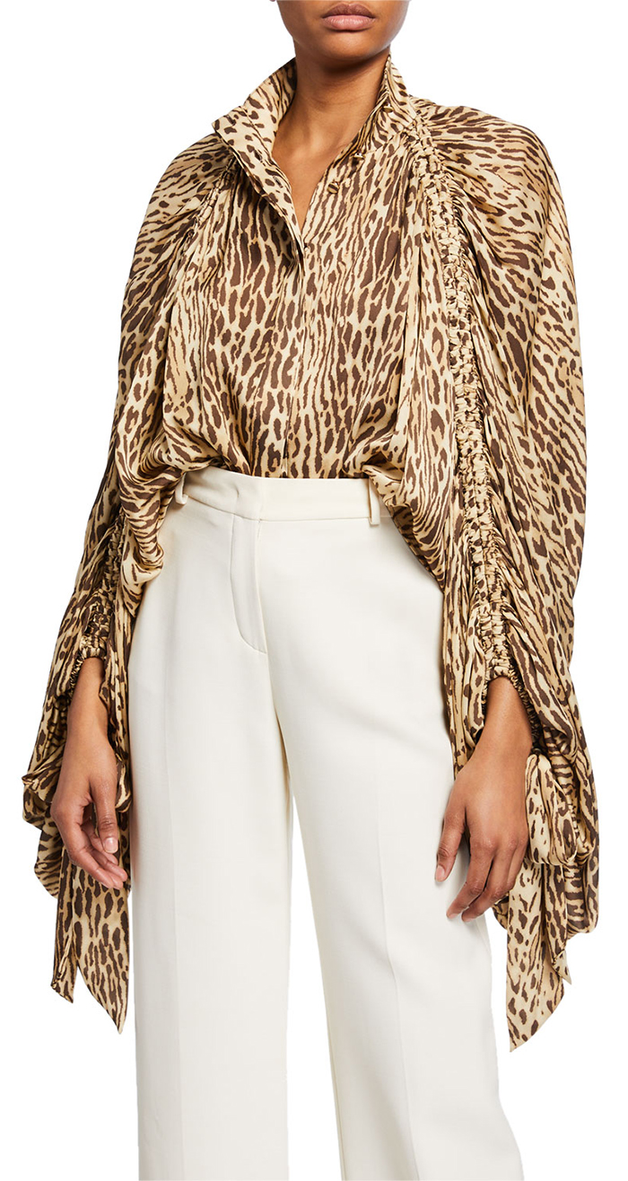 Zimmermann Leopard Print Batwing Blouse. Animal Print Fashion. How to embraces the Animal Print Trend. Blouses with Animal Print 2019. Leopard Print Blouse 2019. Animal Print Outfits 2019. Fall Fashion outfits.