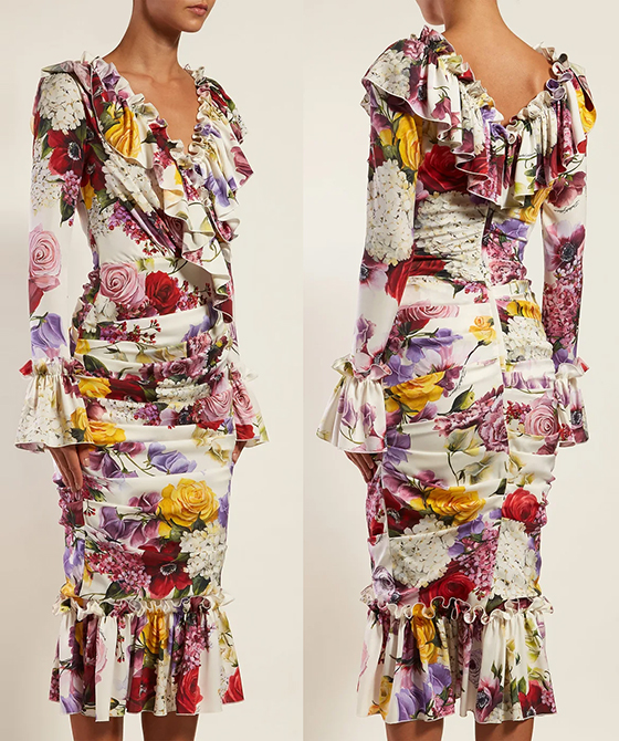 Dolce & Gabbana Floral Midi Dress. Floral Dress for Royal Ascot Dresses. Floral Wiggle Dress. What to wear for Royal Ascot. Royal Ascot Outfits. Ascot Outfit Ideas. Summer wedding guest outfit ideas