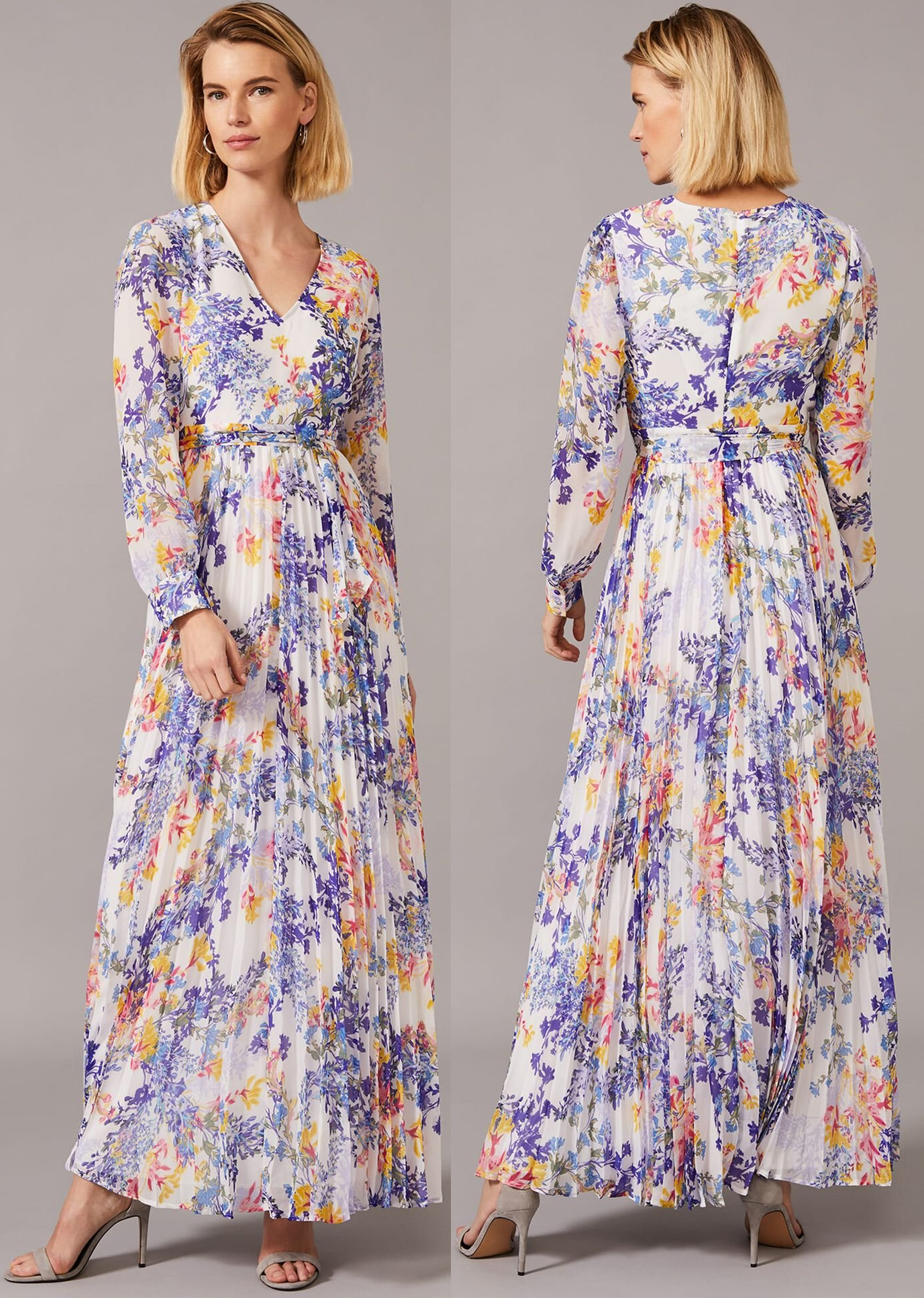 Long Blue Floral Dress for Royal Ascot Races 2021. Floral Dress for Summer Weddings 2021. Floral outfits for Royal Ascot 2021. What to wear to a Summer Wedding. What to wear for Royal Ascot 2021. Outfit ideas for Royal Ascot 2021. Floral Summer Dresses 2021. Pleated Maxi Dresses 2020. Dresses that meet the Royal Ascot Dress Code 2021. Phase Eight Dresses 2020.