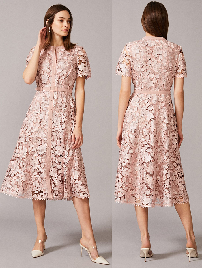 Lace Midi Dress for Royal Ascot 2021. Dusty Pink Lace Dress for the races. Royal Ascot outfit inspiration 2021. Dress that fits Royal Ascot Dress Code 2021. Dress for a Spring Wedding 2021. What to wear for a Spring Wedding 2021. Dresses to wear for Royal Ascot 2021.