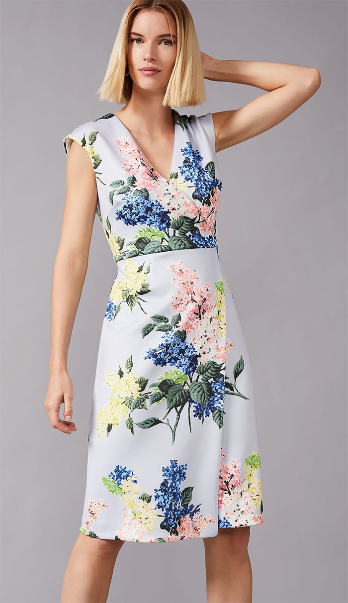 Phase Eight Floral Dress for Royal Ascot 2021. Floral Midi Dress. High Street Dresses for Royal Ascot 2021. Floral Dress for Spring Weddings 2021. Dress suitable for Royal Ascot 2021.