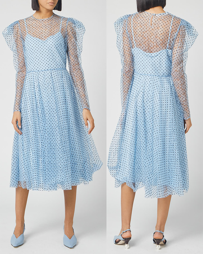Philosophy di Lorenzo Baby Blue Polka Dot Dress 2020. Baby Blue Royal Ascot Dresses 2021. Dress for Spring Wedding Guest 2021. What to wear for Royal Ascot 2021. Royal Ascot Outfit ideas 2021. Dresses that meet the Royal Ascot Dress Code 2021. Royal Ascot Fashion 2021.