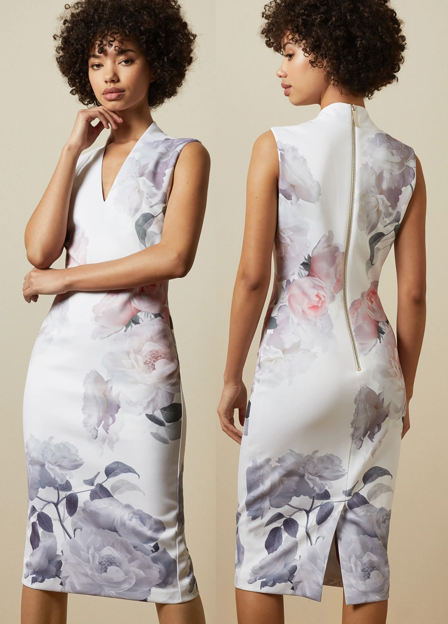Ted Baker Marah Dress 2021. Floral Pink Dress for Royal Ascot 2021. Floral Dress for a Summer Wedding Guest 2021. Dress for Ascot Royal Enclosure 2021. What to wear for Royal Ascot 2021. Pretty Dress for Royal Ascot 2021. Dresses that meet Royal Ascot Dress Code 2021. Pink and Grey Floral Dress 2021. Fashion with Ultimate Gray and Pink 2021.