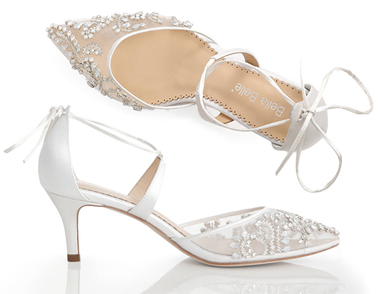 Belle Belle Bridal Shoes. White Wedding Shoes. Low Heel Lace Bridal Shoes. Shoes for a Summer Wedding. Shoes for a Spring Wedding. Best Bridal Shoes. Designer Bridal Shoes