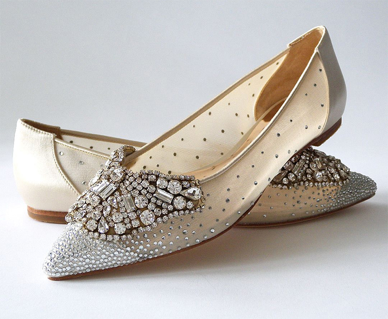 Flat Bridal Shoes 2020. Badgley Mischka Wedding Shoes 2020. Badgley Mischka Bridal Shoes with Crystals 2020. Flat Heel Wedding Shoes 2020. Bridal Shoes for an Autumn Wedding 2020. Shoes for a Fall Wedding 2020. Best Bridal Shoes 2020. Designer Flat Heel Bridal Shoes 2020.