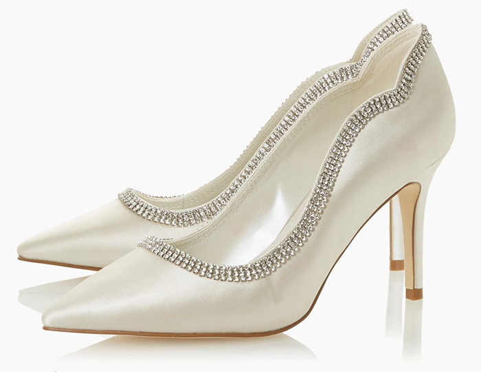 Ivory Crystal Trim Bridal Shoes 2020. High Heel Bridal Shoes 2020. Crystal embellished High Heel Shoes 2020. Bridal Shoes under £150.00. High Street Bridal Shoes 2020. Low Price Bridal Shoes 2020.