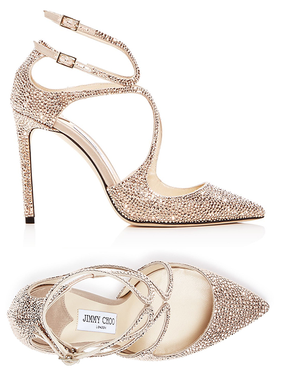 Jimmy Choo Lancer Gold Crystal Shoes, Jimmy Choo Shoes, Gold Crystal Bridal Shoes. Best Shoes for Spring Brides. Spring Wedding Ideas. Luxury Wedding Shoes.