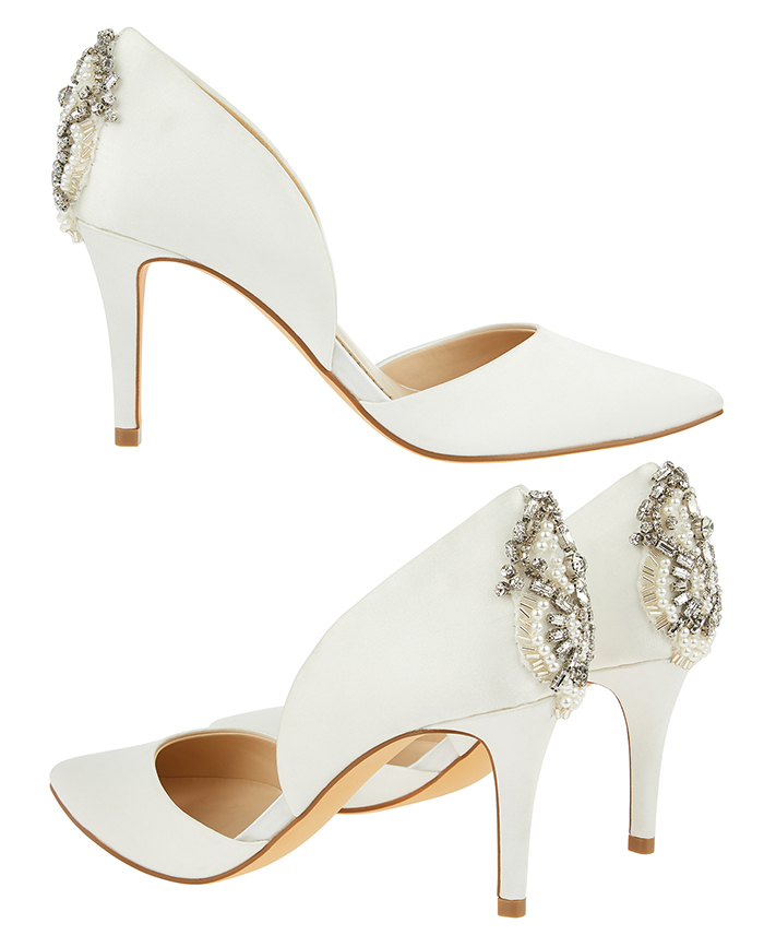 Monsoon Bridal Crystal Heel Shoes 2020. Medium Heel Bridal Shoes 2020. White with Crystals Bridal Shoes. Bridal Shoes under £100.00. Cheap Bridal Shoes 2020. Cheap Brides Shoes
