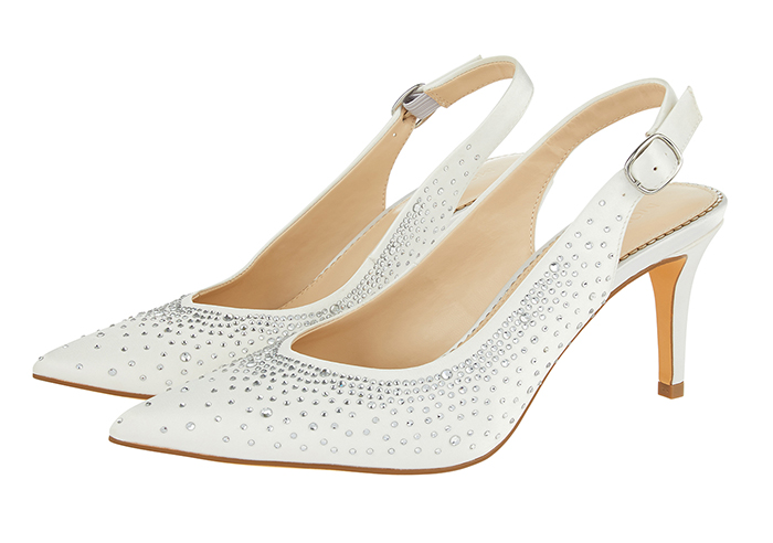 Monsoon Bridal Crystal Heel Shoes 2020. Medium Heel Bridal Shoes 2020. White with Crystals Shoes. Bridal Shoes under £100.00. Cheap Bridal Shoes 2020. Cheap Brides Shoes