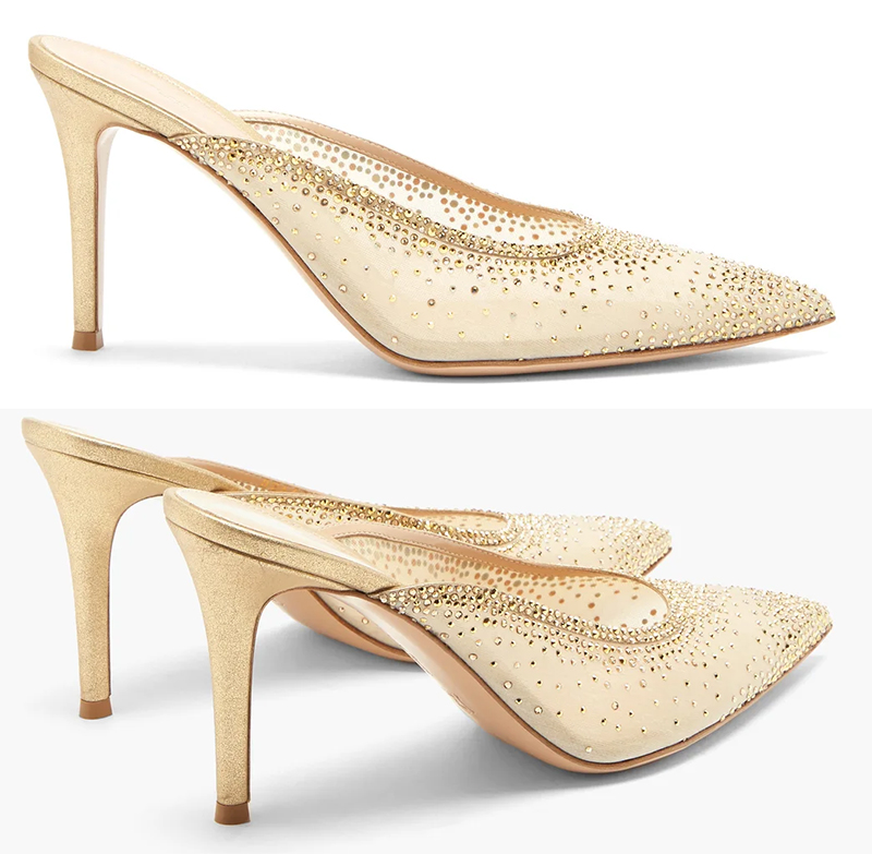 Gianvito Rossi Champagne Gold Crystal Shoes. Champagne Gold Designer Bridal Shoes 2020. Best Designer Bridal Shoes 2020. Luxury Crystal Bridal Shoes 2020. Bridal Shoes for Spring Brides 2021. Gold Bridal Shoes with Crystals 2020. Spring Wedding Ideas 2020. Luxury Wedding Shoes 2020.