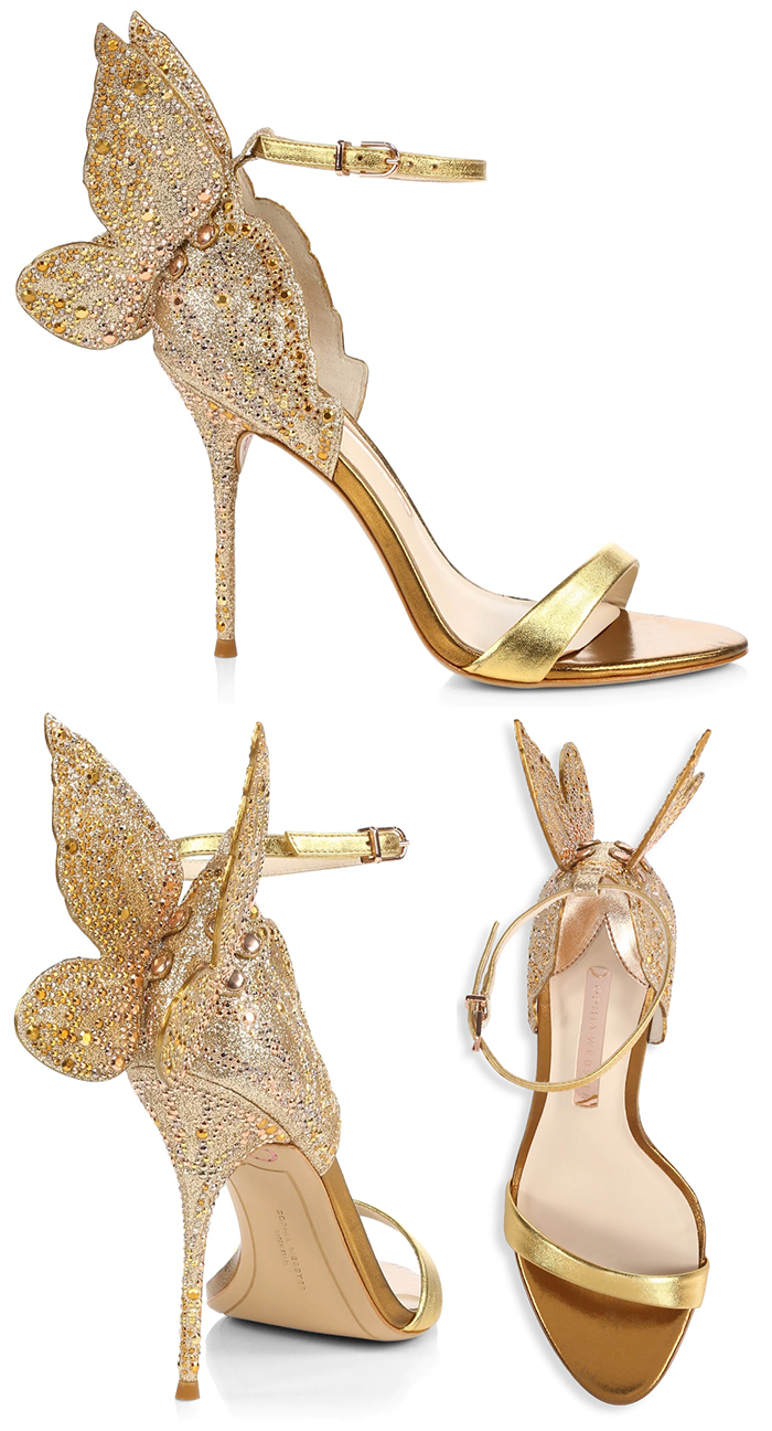 Sophia Webster Gold Crystal Chiara Shoes 2020. Sophia webster Bridal Shoes 2020. Gold Bridal Shoes 2020. High Heel Bridal Shoes 2020. Designer Bridal Shoes 2020. Sophia Webster Butterfly Shoes 2020. Luxury Wedding Shoes 2020.