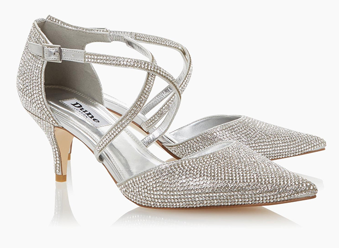 Silver Crystal Bridesmaids Shoes 2020. Silver Wedding Shoes 2020. Kitten Heel Bridesmaids Shoes 2020. Bridesmaids Shoes for an Autumn Wedding 2020. Silver Shoes for an Autumn Wedding 2020. Best Bridesmaids Shoes 2020. Dune Bridesmaids Shoes 2020.
