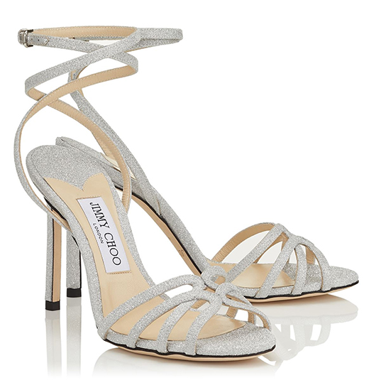 Jimmy Choo Shoes, Jimmy Choo Bridesmaids Shoes, Silver Bridal Shoes. Best Shoes for Summer Bridesmaids. Summer Wedding Ideas. Luxury Bridesmaids Shoes.