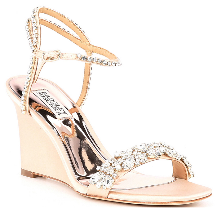 Badgley Gold Bridesmaids Shoes. Bridesmaids Shoes with Crystals 2020. Best Shoes for Summer Bridesmaids 2020. Gold Bridesmaids Wedge Heel Shoes 2020. Summer Wedding Bridesmaids Outfits 2020. High Heel Bridesmaids Shoes 2020.