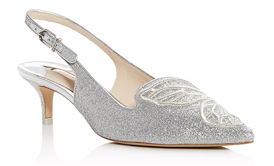 Sophia Webster BiBi Butterfly Shoes, Sophia Webster Bridesmaids Shoes, Silver Kitten Heel Shoes. Best Shoes for Summer Bridesmaids. Summer Wedding Ideas. Luxury Bridesmaids Shoes.