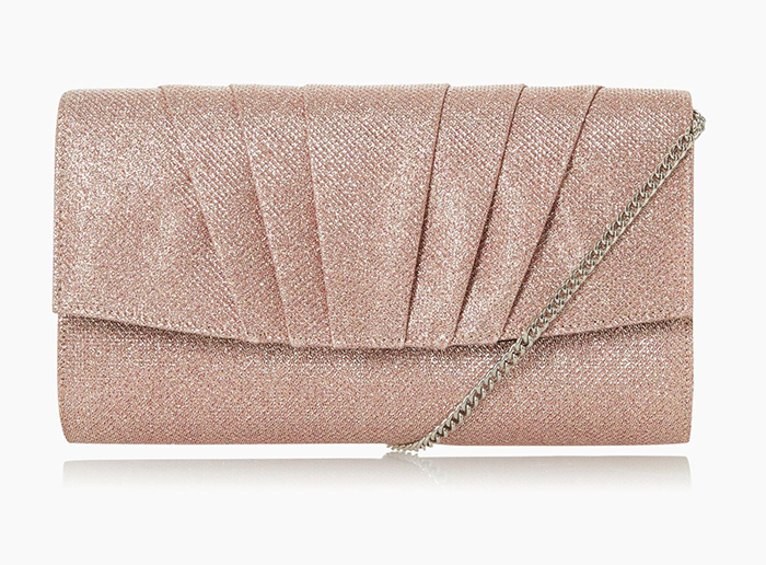 Roland Cartier Rose Gold Clutch Bag. Rose Gold Mother of the Bride Clutch Bag 2020. Rose Gold Clutch Bags 2020. Rose Gold Mother of the Bride outfits 2020. Mother of the Groom Outfits 2020. Wedding Guest Outfit Ideas 2020