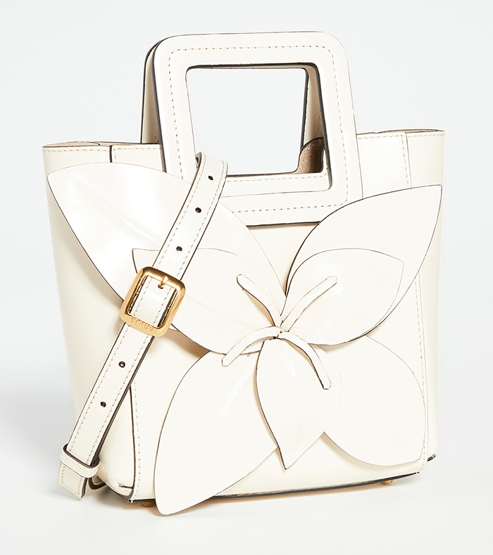 Staud Cream Floral 2020. Staud HandBags 2020. Bag to wear with a Ivory dress. What to wear for Ladies Day at the races. Ivory HandBags 2020. Ideas for Summer wedding guest outfits 2020. Floral Mother of the Bride bags 2020.