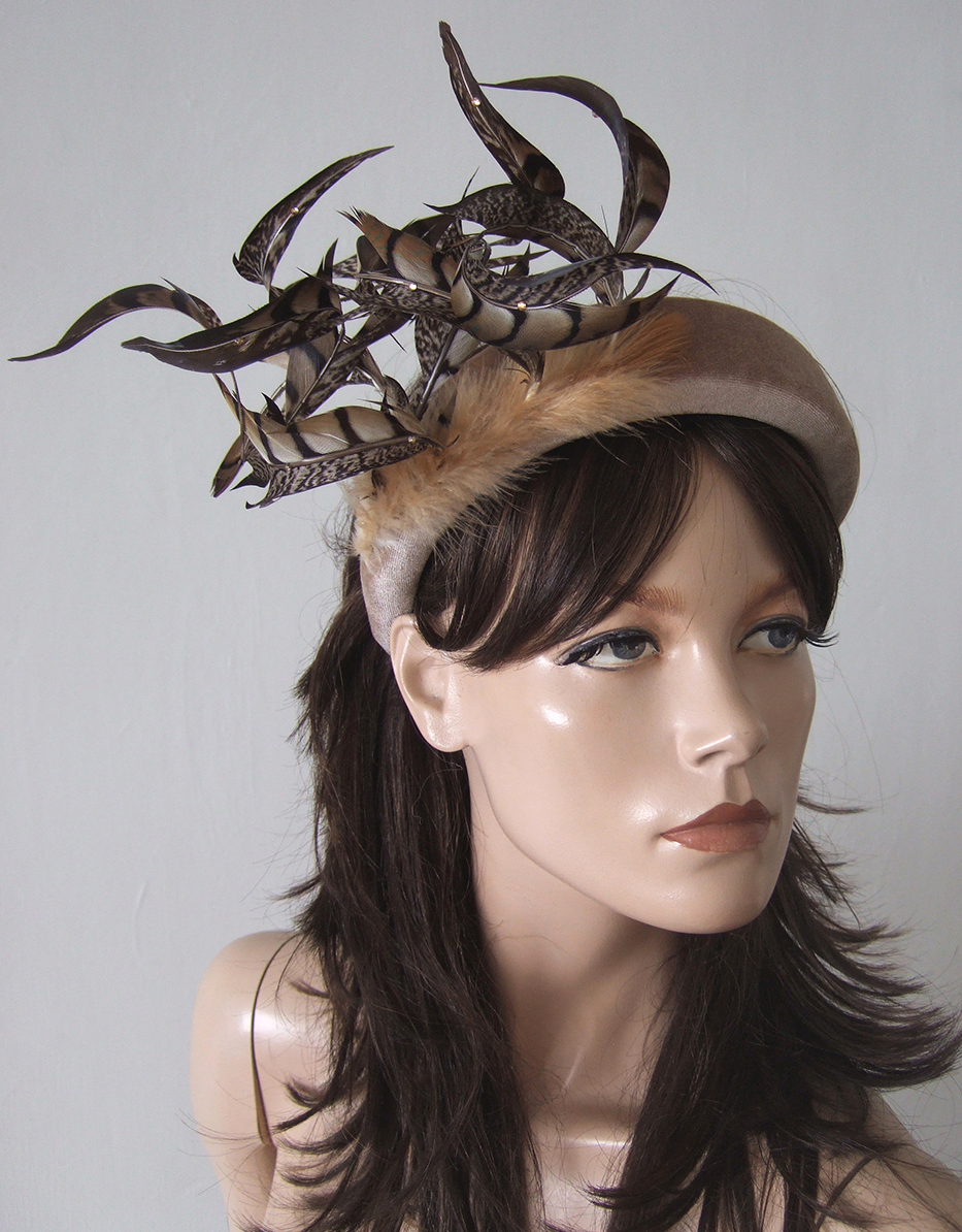 Wide Velvet Padded Headband with Feathers and Crystal. What to wear for an Autumn Wedding. Wide Padded Hair Band for Autumn. Feather accessories. What to wear to a Fall Wedding. Embellished Hair Bands