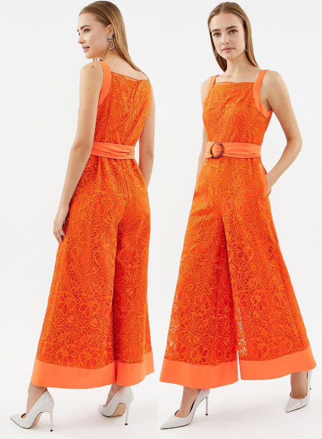 Orange Wide Leg Jumpsuit 2020. What to wear for an Autumn wedding 2020, outfits for Autumn Weddings 2020. Autumn Wedding Guest Outfits 2020, How to wear Orange 2020. Lace jumpsuits 2020. Autumn Fashion Ideas and Inspiration 2020. Autumn Fashion 2020.
