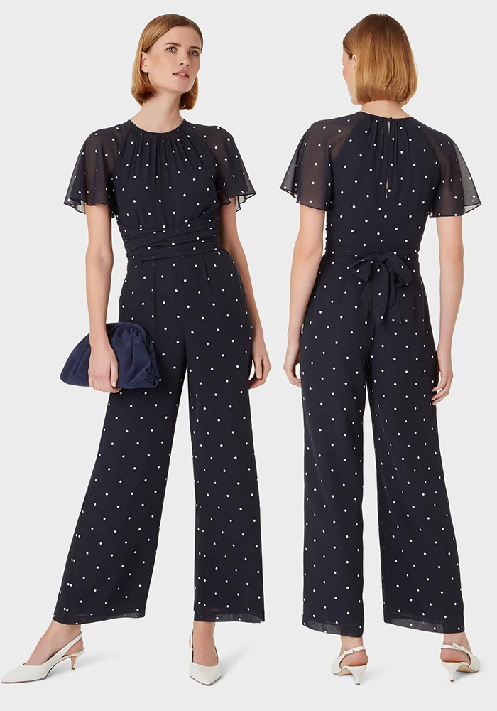 Polka Dot Jumpsuit for Autumn Wedding 2020, What to wear to an Autumn Wedding 2020. What to wear for a Fall Wedding 2020. Autumn Wedding Guest Jumpsuits 2020. Fall Fashion 2020. Navy Jumpsuits for 2020. Navy Culotte Jumpsuit for Weddings 2020. Fall Wedding Guest Outfits 2020