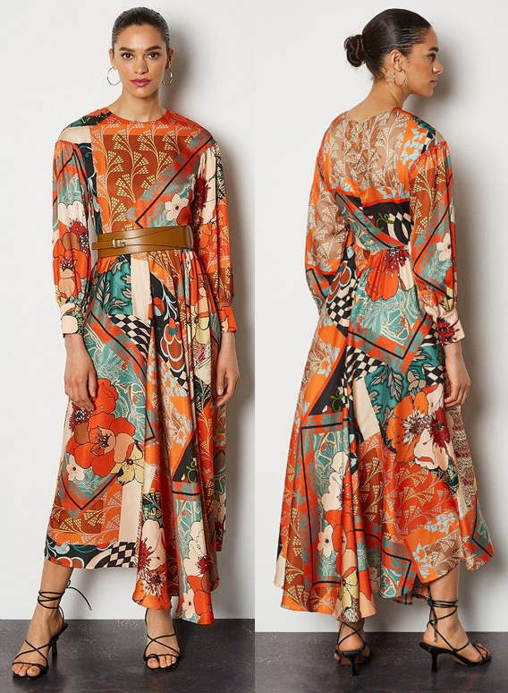 Fall Fashion 2021. Karen Millen Dresses 2021. Dress for an Autumn Wedding Guest 2021. What to wear to an Autumn Wedding 2021. Autumnal Colours Midi Dress 2021. Fall Fashion 2021 Dresses. Autumn Wedding outfit Ideas 2021. Dress in Autumn Colours 2021. Dress in Fall Colors 2021.