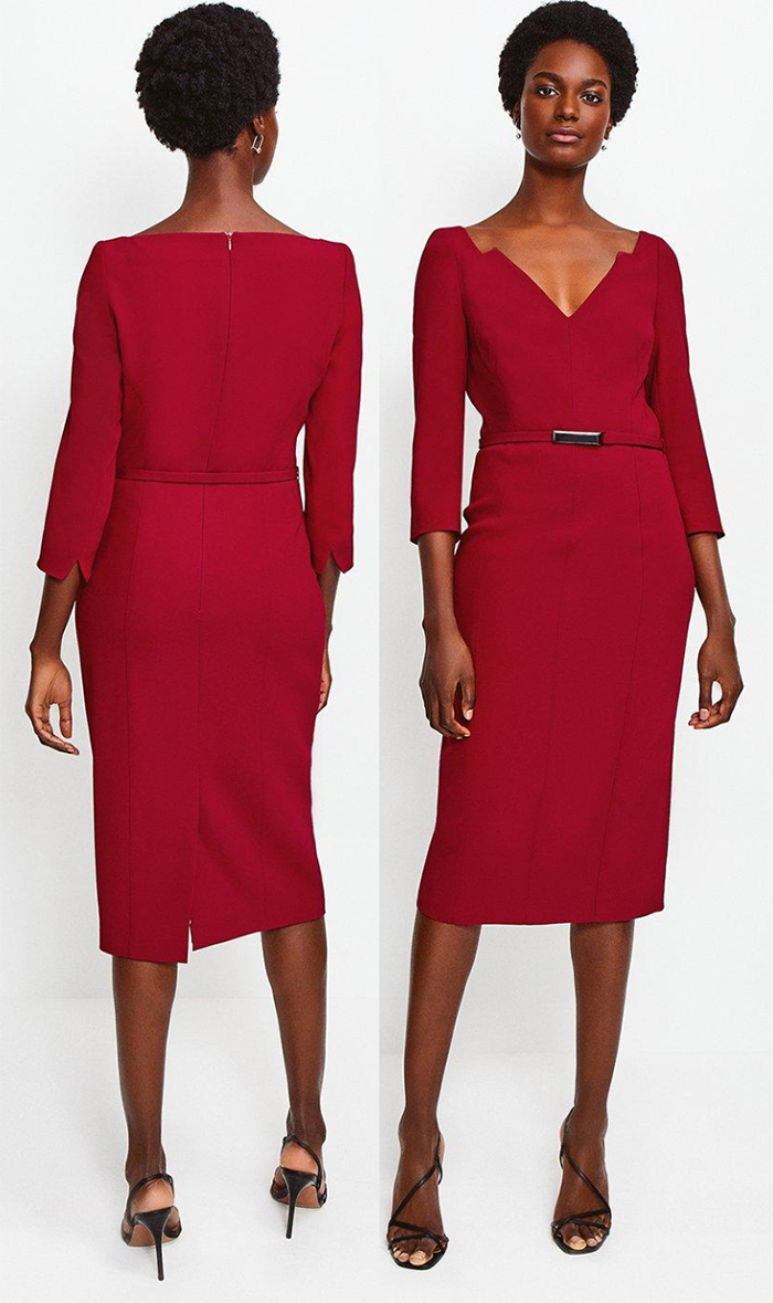 Karen Millen Fitted Red Dress 2021. Red Dress for an Autumn Wedding 2021. What to wear for an Autumn wedding 2021. Autumn Wedding Outfits 2021. Autumn wedding guest outfit ideas 2021. What to wear to an Autumn wedding 2021. Mother of the Bride Dress Autumn 2021. Autumn Mother of the Bride Dresses 2021.