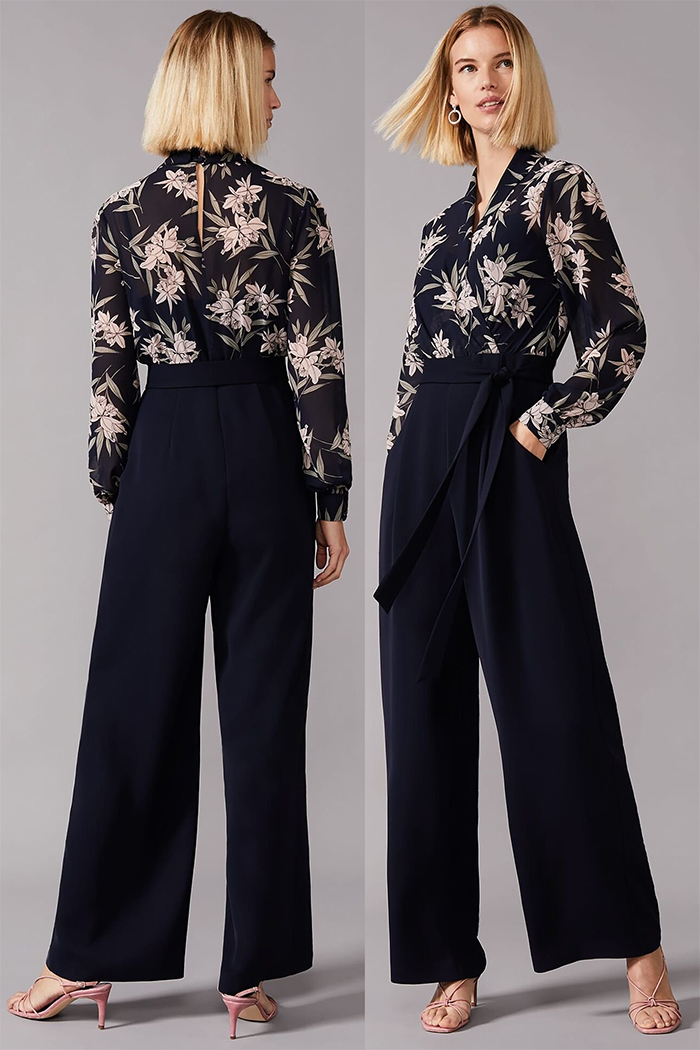 Floral Jumpsuit for an Autumn Wedding 2020. Autumn Winter Fashion 2020, What to wear to an Autumn wedding 2020. What to wear for a September Wedding 2020. Autumn Wedding Guest Outfits 2020. Navy Colour Jumpsuit 2020. Pretty Jumpsuits for Autumn Weddings 2020.