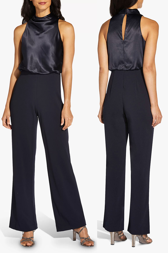 Dark Navy Jumpsuit for Winter Wedding 2021, What to wear to a Winter Wedding 20/2021. What to wear for a April Wedding 2021. Spring Wedding Guest Jumpsuits 2021. Navy Formal Jumpsuits for 2021. Navy Blue Jumpsuit for Weddings 2021. Autumn Wedding Guest Outfits 2021.
