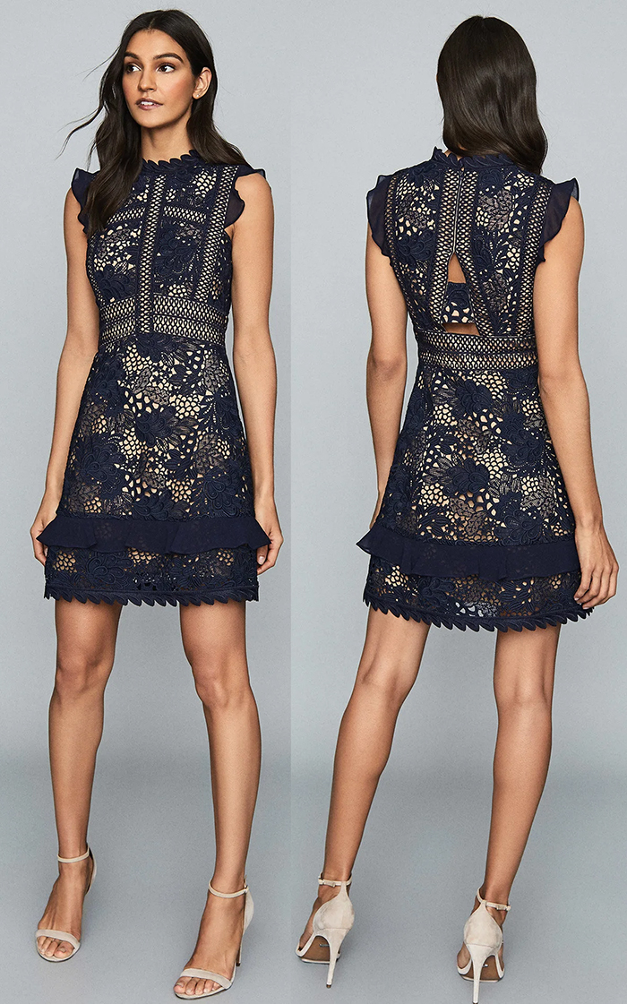 Reiss Navy Lace Dress 2021. Navy Lace Dress for Autumn Wedding 2021, What to wear to an Autumn Wedding 2021. What to wear for a Fall Wedding 2021. Autumn Wedding Guest Dresses 2021. Fall Fashion 2021. Fall Wedding Guest Outfits 2021