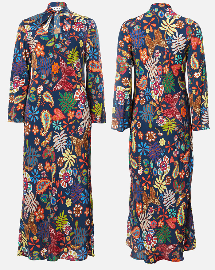 Floral Dress for a Fall Wedding Guest 2020. What to wear for a fall wedding 2020. Autumn Wedding Guest Outfits 2020. Ladies Autumn wedding guest outfits 2020. What to wear to an Autumn wedding 2020. 70's inspired Dress 2020. Dresses for an Autumn Wedding Guest 2020.