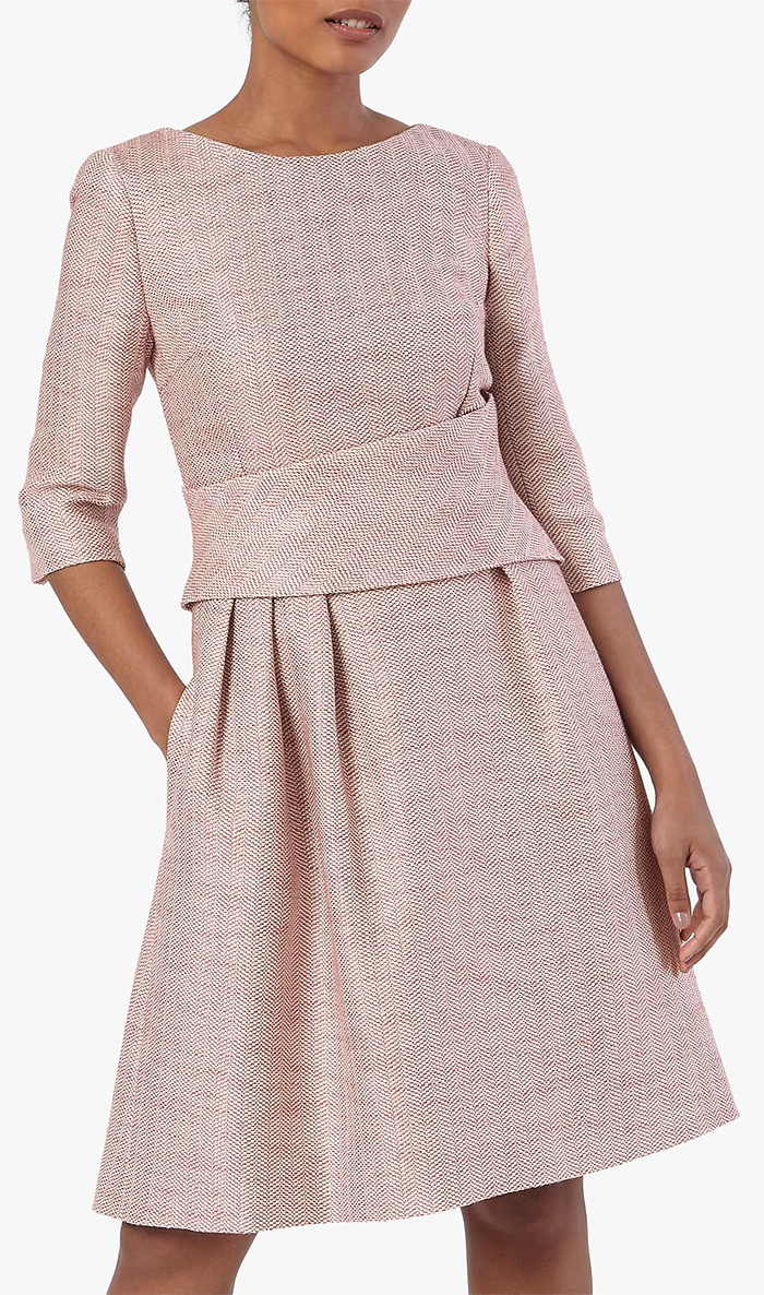 Autumn Fashion 2021. Pink Dress for an Autumn Wedding Guest 2021. Winter Tweed Dress 2020. What to wear to a Autumn Wedding 2021. Pink Tweed Dress 2021. Ladies Winter Wedding outfits 2021. Winter Wedding outfit Ideas 2021. Dress in Autumn Colours 2021. How to dress for an Autumn wedding 2021.
